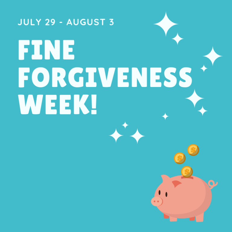 "White text on a blue background that says ""July 29 - August 3 Fine Forgiveness Week!"" with an image of a piggy bank that has gold coins falling into it."
